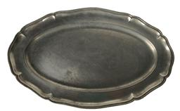 "E394 Early 18th century Pewter reeded rim oval pewter platter or tray, touch mark with a Griffin and date 1710, with angel touch mark, great condition shows wear from use. Measurements 17 3/4"" long x 11"" wide"