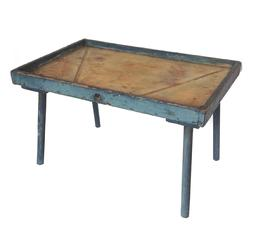 RM346 Rare 19 Century Pennsylvania Cheese drain table with old blue paint. Square-head nailed, one-board  construction