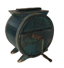 "RM344 19th century  wooden butter churn, with the original indigo blue paint , with removable lid, is complete with interior paddles and would still work today.  measures 15"" with a 13"" wide base."