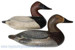 "RM720 Rare pair of Henry Lockard canvasback Decoys with Severnhall paint, from the John Schaeffer rig, "" at the ""Canal House"" at Cheaspecke City Maryland """