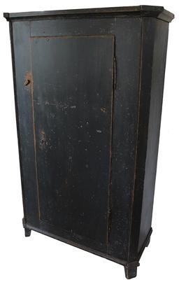 "SB5 18th century  one door Storage Cupboard with the original beautiful dark gray paint, with a blue tint to the paint, dovetailed case , very unusual form, one board door with two dovetailed baton. Applied molding on the base that matches the molding on the top of the cupboard, the back boards are pegged on,  18th century style split hinges ( the door lifts off the case)   circa 1800 measurements are: 40 1/2"" wide x 66 1/2"" tall x 19"" deep including molding"
