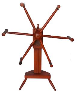 "SB9 Pumpkin painted Yarn Winder, New England, 18th century, with wooden geared mechanism, on vase- and ring-turned post, chip-carved platform, and tripod base,  36"" tall"