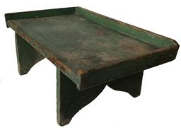 "SP3 19th century  table top Sorting  Tray  with the original green paint, applied gallery square head nailed construction , the legs are mortised into the top nice high cut out design on the ends , all original Measurements are:  20"" wide x 7"" tall x 11 1/2"" deep"