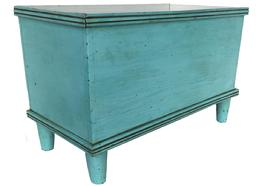 "E143    Mid 19th century Eastern Shore Maryland diminutive Blanket Chest  circa 1850 in the original robin egg blue paint, dovetailed case with a simple turned foot, reeded molding around lid and base. Cherry wood Six board Chest Measurem,ents are: 28"" long  x14 deep"" x18"" tall"