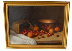 "T112  Still life painting of Cherries and oranges , with a basket and bowl, painted on canvas, signed by Artist F. Budal. Professionaly cleaned and repaired  and reframed  13"" x 18"""
