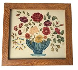 "T44  Beautiful hand painted Theorem Four Seasons on Velvet,  a dark blue compote, filled with flowers, this was hand painted by Maggie Keeler from W.V.  the theorem is framed in an original hand paint frame by Irvan Graff Measurements are 19"" x 20 3/4"""