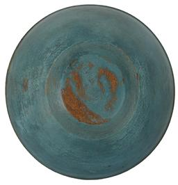 B395 Early 19th century Pennsylvania , original blue  painted Butter Bowl, raised rim, very nice patina on the inside , early lathe marks on the exterior,