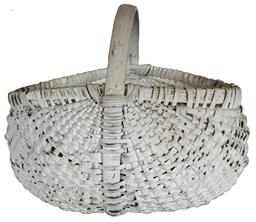 U196 North Carolina gathering Basket, with old white paint, single wrapped rim with,steamed and bent handle, which goes all the way around the basket for reinforcement of the bottom. From the home of Frank Milton Townsmen, McDonald, Robeson Co. North Carolina circa 1900
