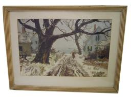 U92 Water coloring of a water front village signed by Artist  dated 1921  John Wharf
