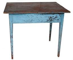"V67 Early 19th century two board top Work Table, the top is pegged on,  the hepplewhite legs have a  bead down each  legs,  early old blue over the original red ,  circa 1800-1810  Measurements are: 334 1/2"" wide x 27"" deep x 29"" tall"