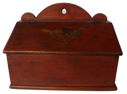 RM602 19th century Shenandoah Valley Virginia   Wall Box high arched back, with hold for hanging, with a dovetailed case hand painted compote  of fruit painted on lid walnut,and yellow pine with a divided  interior