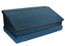 X336  19th century  blue table  -top Desk, New England, late 19th century, with  a lift hinged slant lid on a nail constructed box,