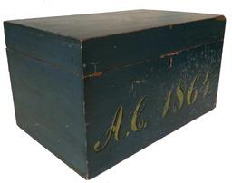 "Z212 19th century Civil era document Box, with the original dry blue paint, dated A.C.  1864, in yellow , with black ,square head nail construction, original hinges and natural interior  Measurements are: 17"" wide x 10 3/4"" deep x 9 3/4"" tall"