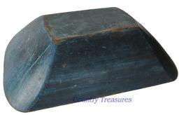 "D116 19th century beautiful Hardwood Trencher with dry  Blue Paint. Hand hewn rectangular form one of th best bowls we have ever own. 5-1/4""h. x 20""w. x 12-5/8""d"