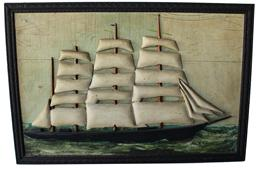 B144 Relief  carved and painted, wall hanging picture of clipper  ship is in its original frame, classic work by this highly regarded MAINE wood craver