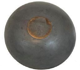 C447 19th century Pennsylvania original pewter gray painted wooden bowl, American, mid-19th century, A lathe-turned bowl, slightly out of round, Retains an old dry pewter gray paint with good patina, and old natural patina on the inside with no cracks or breaks