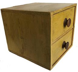 "D493 19th century New England Case of drawers, wth vibrant yellow paint, one board construction, with square head nails, Measurements are 12"" wide x 11 1/2"" tall x 13 1/2"" deep"