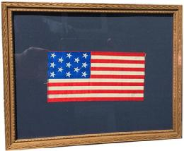 D333 Silk 13 Star US Flag 1866-90. . Framed in a gold frame.