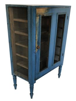 "E52  Mid 19th century Pennsylvania screen Pie safe, with beautiful  original dry blue paint, never over painted single door,  resting on a gracefully turned legs, nice and clean all original   circa 1850  Measurements are:45"" wide x 16"" deep x 31"" tall"