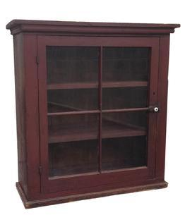 "Z413 19th century Ohio Hanging Cupboard ,with original dry red paint, four window lights, full mortised and pegged door, simple applied molded at the top and base.  36""high. 34""wide. 14""deep."