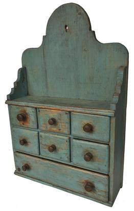 "E2 19th century New England seven drawers Apothecary/ Spice Cabinet with original robin egg blue paint with high arched tombstone back,. nailed construction drawers   one board back, hold for  hanging. circa 1860  Measurements are: 112 1/2 "" wide x 20"" tall x 6"" deep"