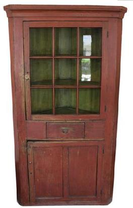 IM 2 Original Red Paint Corner Cupboard: nine pane, one dove tailed drawer, found in Lancaster County, PA c 1830,