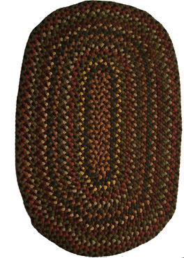 "D255  All hand made braided rugs a matching set of three, great colors and condition 37"" x 25"""