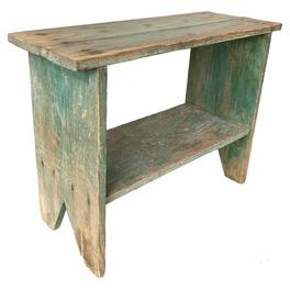RM1228 Late 19th Century Eastern Shore Maryland Bucket Bench in it�s original blue-green paint mixture of square and wire nailed southern yellow pine one board construction