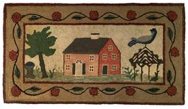"E32 Early Hooked Rug with exquisitely detailed brick house, oversized blue bird atop an ivy covered gazebo, tree and beautiful curved floral border.  Black-eyed susan flowers are depicted along each side of the house.Professional framed and mounted  measurement are: 45"" wide x 25"" tall"