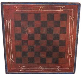 "E362 Late 19th Patriotic Game board, in the original red, white and blue paint with black squares, the Game board is one single board with a blue border, with white pin stripe decoration, uncleaned surface with wonderful wear. Measurements are: 18"" x 18"""