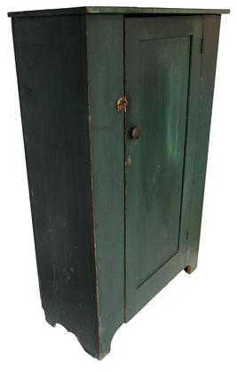 "B419 19th century Pennslyvania  one door Cupboard in the original green paint unclean surface all original, interior naturial patina, one door construction, nice cut out foot, single panel door Measurements are 35"" wide x 53 2/4"" tall x 15 1/2"" deep"
