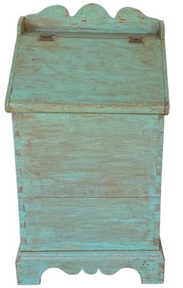 F178 Lancaster County Pennsylvania dovetailed Storage Bin, old blue paint over the original red. With a fall front, lift lid hinged, applied scalloped galley and base it is dated on the back