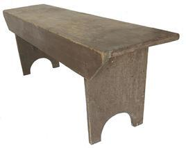 E287 19th century double mortised Wash Bench in dark salmon paint, high arched cut out foot with two stretchers on the back for support, very sturdy, circa 1840