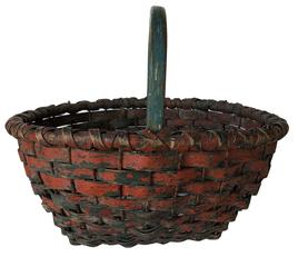 "E500 Late 19th century Oak splint clam basket, with original blue and red paint, wire  holes in bottom for drainage, and worked up the sides for strength,  steam and bent notched handle, double wrapped rim  c 1890, Measurements are:13"" tall x 16"" diameter"
