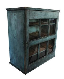 C522 Early 19th century Harrisonburg Virginia six window lites in a single full mortised and double pin door , Hanging Cupboard with the original dry blue paint, with all original hardware.