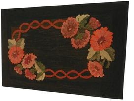 X420 Early 20th century Hooked Rug from Concord New Hampshire, professional framed and mounted