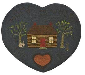 Y51  Early 20th century,Heart Hooked Rug , from Maine, mounted on board, great colors, of cabinn with rabbits, and large hearts.