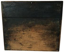 "B452 19th century Noodle Board or Dough Board, with three sided gallery, dark blue paint, early square head cut nails the gallery keep the dough on the work surface. The wood is pine, with original dry unclean surface Measures 25 1/4 "" wide x 21 1/2"" deep"