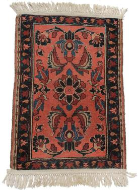 C218 Early  Orinial Rug, with a salmon background, medium and dark blue design