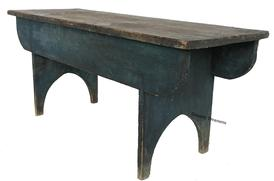 "D453 late 19th century York County Pennslyvania original blue painted Bench, white pine one board construction nice hight half moon cut of feet, the legs are mortised through the side skirts. Measurements are 42"" long x 14 1/2"" deep x 17 1/2"" tall"