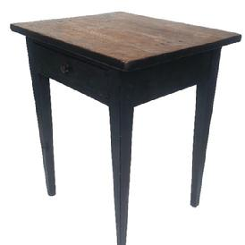 "F161 Lancaster County, Pennsylvania Hepplewhite one drawer stand with dovetailed drawer in original black paint. Wonderfully tapered legs and square nail construction. Measurements: 23 5/8"" wide, 19 1/2"" deep, 28"" tall"
