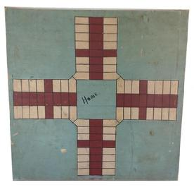 "A370  New England Parcheesi Game Board red, white and blue   Made by Gus Wilson, South Portland, Maine, ca. 1920s, pine. Parcheesi board with original paint. Two boards with breadboard ends. 20""x 20"".  Bought  from Wilson's cousin. Wilson, a famous decoy maker, made this board for his own use when he was keeper of the Great Duck Light House,southeast of Bar Harbor, Maine."
