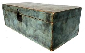 "F208 19th century blue paint decorated storage Box beautiful smoke decoration and dovetailed case. Measurements: 30"" wide x 15"" deep x 10 1/4"" tall"