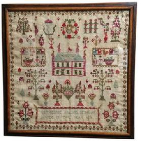 D317  19th century Wedding Sampler made by  Catherine Allan Sehraa bewed in the year 1830, great color the red is bright, stitched on linen