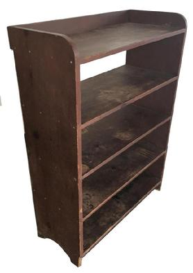 B303 19th century  from south eastern Pennsylvania , with the original dry red paint , the shelves are one board  mortised into one board sides. All square nail construction, circa 1840