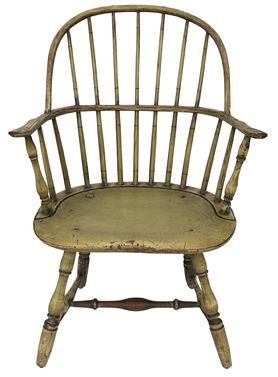 E526 Philadelphia Pennsylvania  Windsor Sack Back Arm Chair, Old Yellow Painted Surface with black pin striping , Robust Turnings, Purchased from the Salisbury Maryland Estate of Hill Baker Bounds Funeral Home in 1926.  measurements 36 1/2� tall 24� wide 20� deep