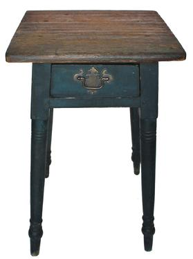 "C574 18th century Mahantango Valley  Pennslyvania  splay leg one drawer stand, in beautiful old dark blue paint over the original red. Dovetailed splayed drawer, with beaded edge, with brass hardware.Mortised and pegged and rose head nail construction. circa  1760 measurements are 18"" wide x 19"" deep x 27"" tall"