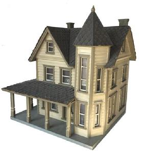 E279 This is a model of a house in Foglstown Pa Occupied by a Dr Endrd. It was made by Alvin T. Smith 15841 Kutztown Road Masatown PA. about the year 1900 Mr Smith was a locksmith by trade