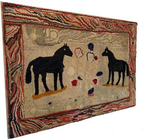 "F165  Late 19th century Double-Horse Hooked Rug, Pennsylvania , it is rare and desirable to see two horses on the same rug. The standing pose is further energized by the boarder, of different colors  41 3/4"" wide x 27 1/4"" tall ,"
