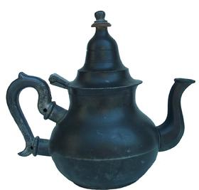 "X307 Late 18th century Queen Ann pear shape pewter Tea Pot . 7.5"" tall. hallmarked with crown over M"